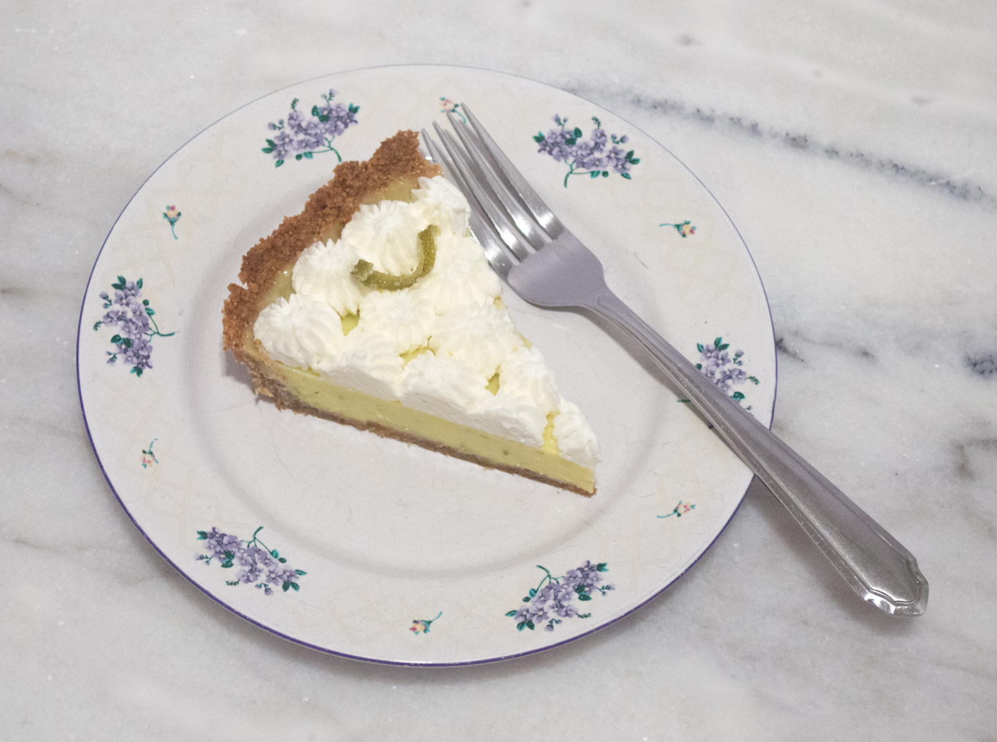 Slice of Key Lime Pie with Whipped Cream