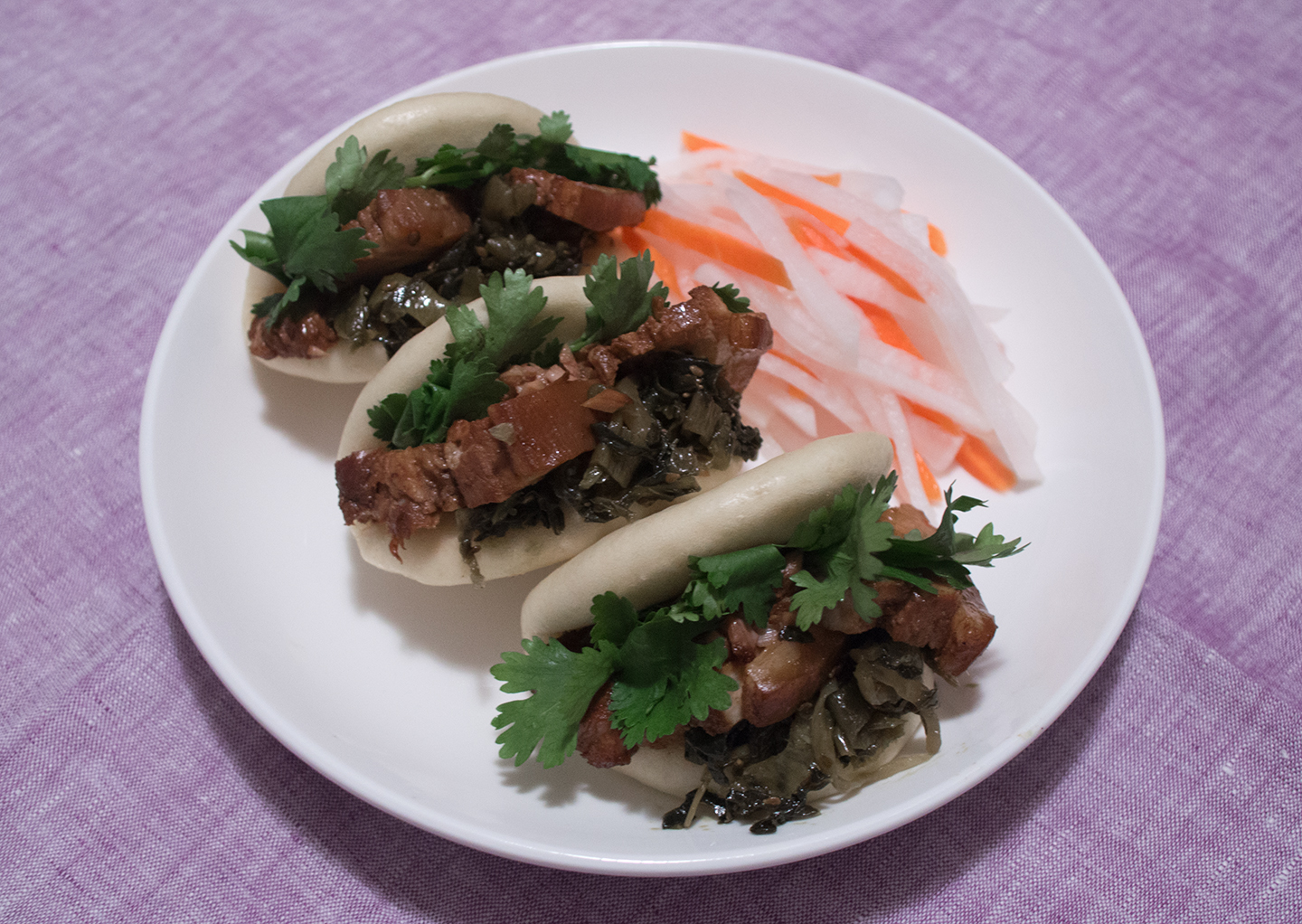 Braised Pork Belly Buns with Radish and Carrot Slaw