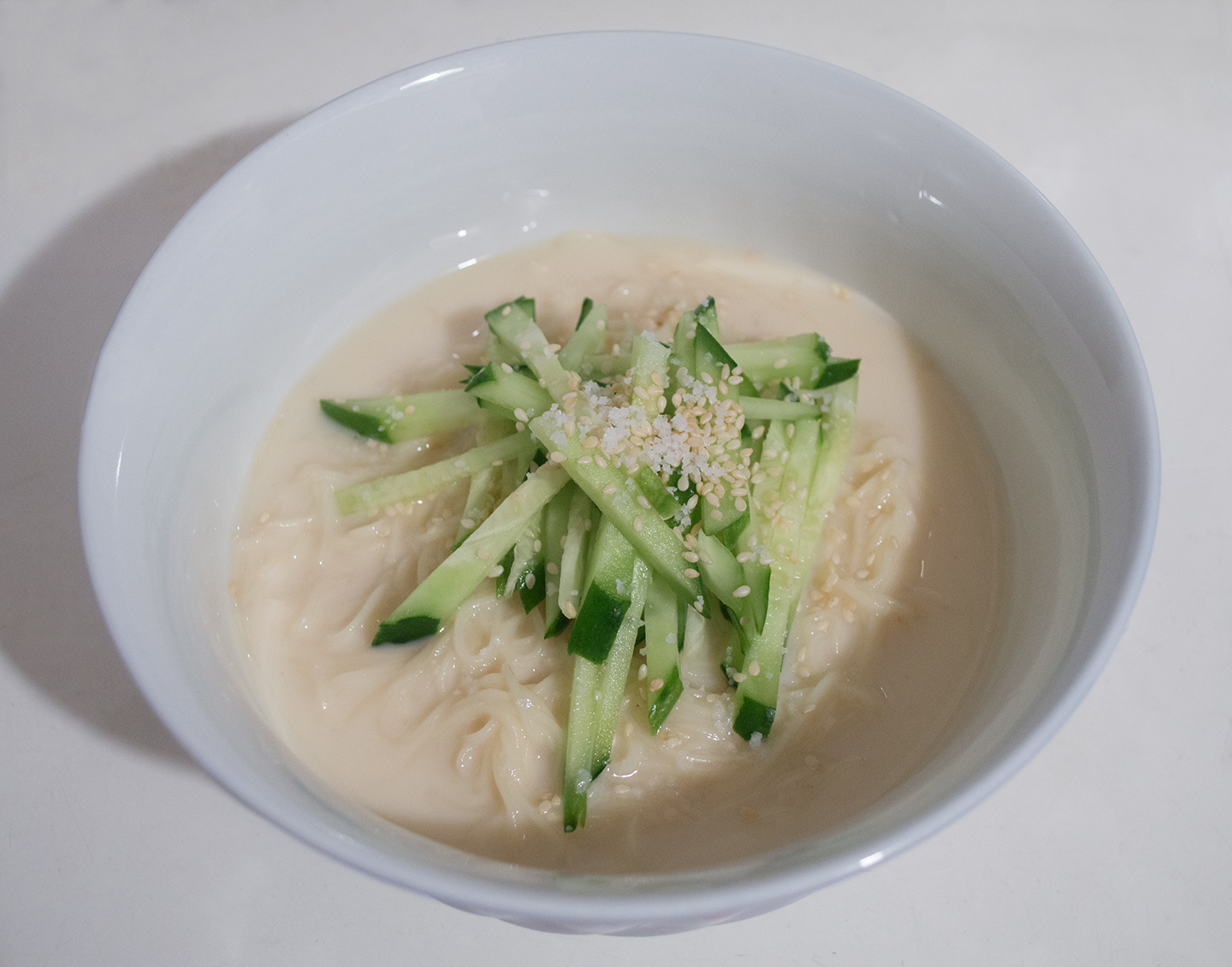 Kong Guksu (콩국수) - Cold Noodles in Soy Milk with Cucumber