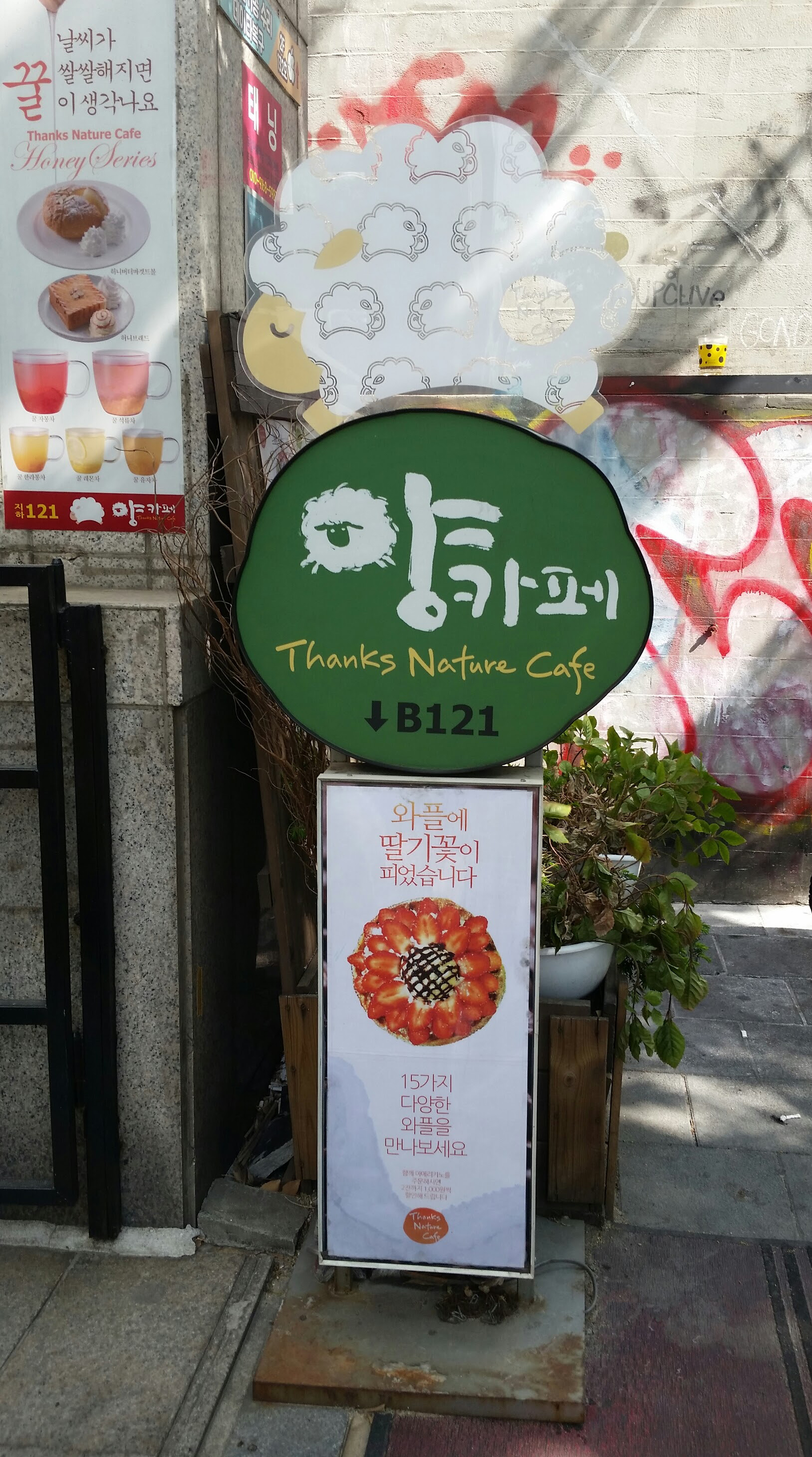 Hongdae - Thanks Nature Sheep Cafe Sign