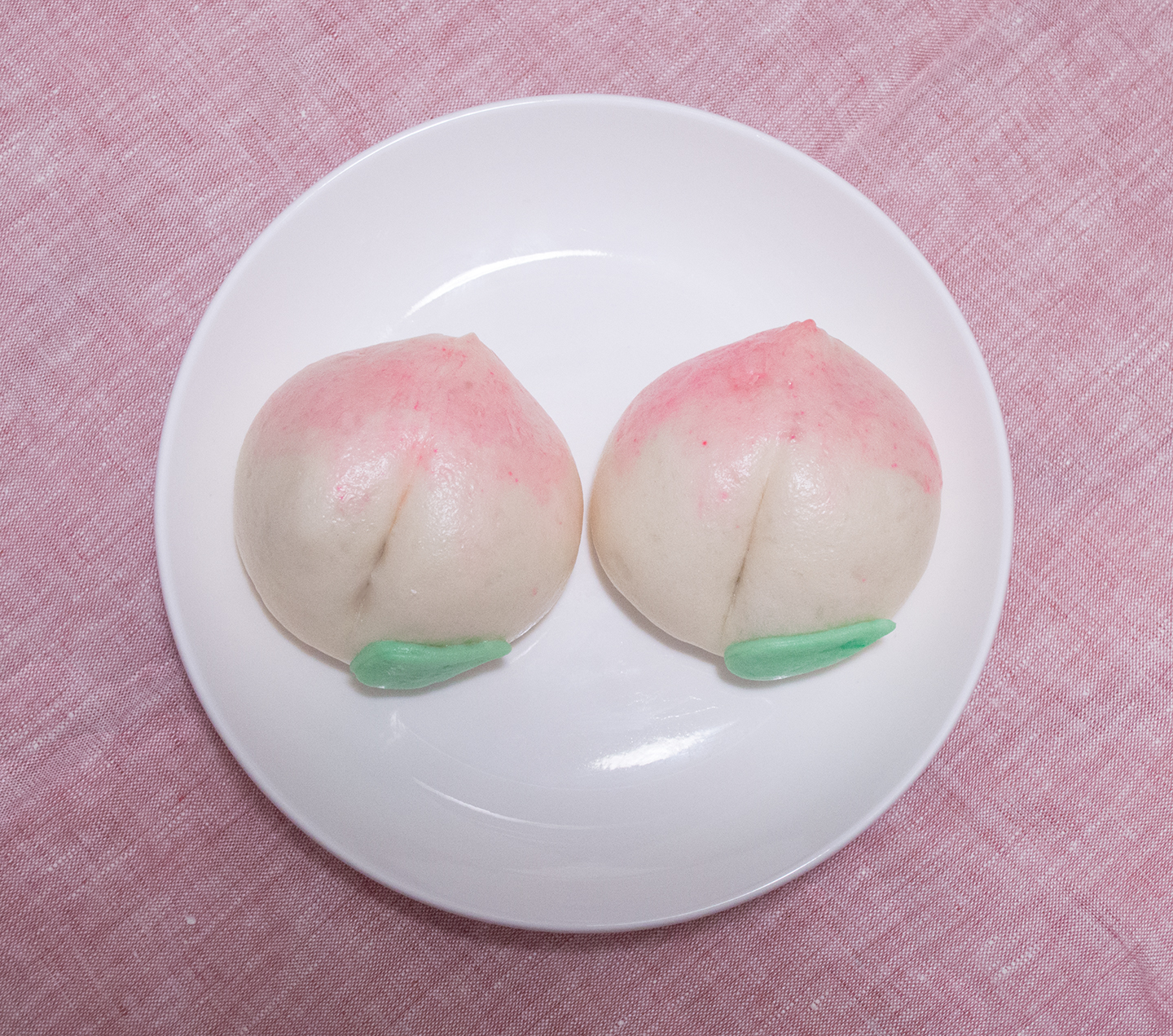 Longevity Peach Lotus Paste Steamed Buns - Two Peach Lotus Buns