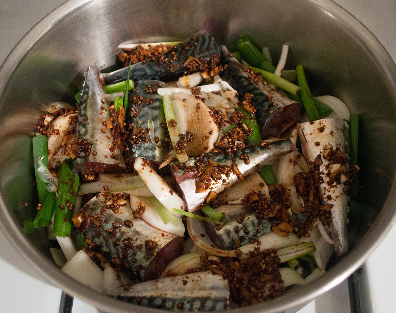 Godeungeo Jorim (고등어 조림) - Spicy Soy-Sauce-Braised Mackerel - Before Cooking