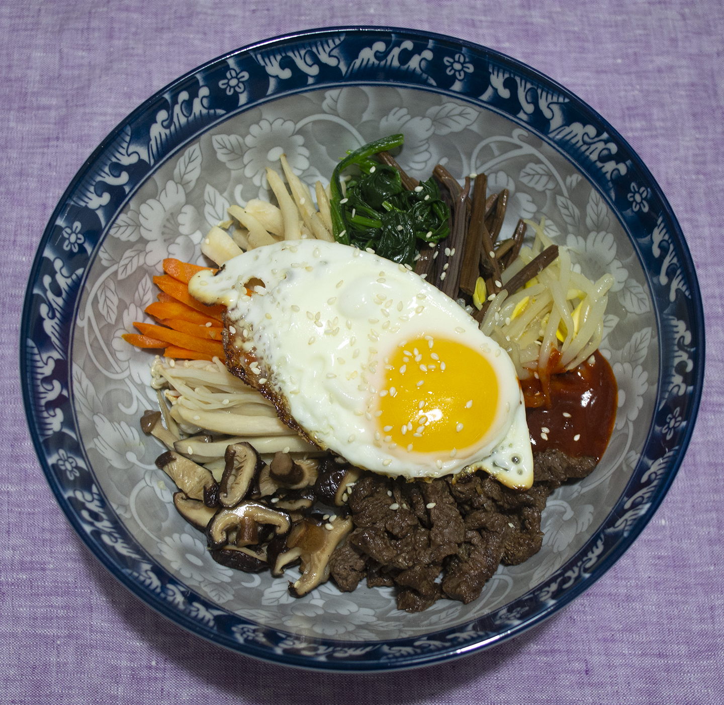 Bibimbap (비빔밥) - Seasoned Vegetable and Beef Rice Bowl